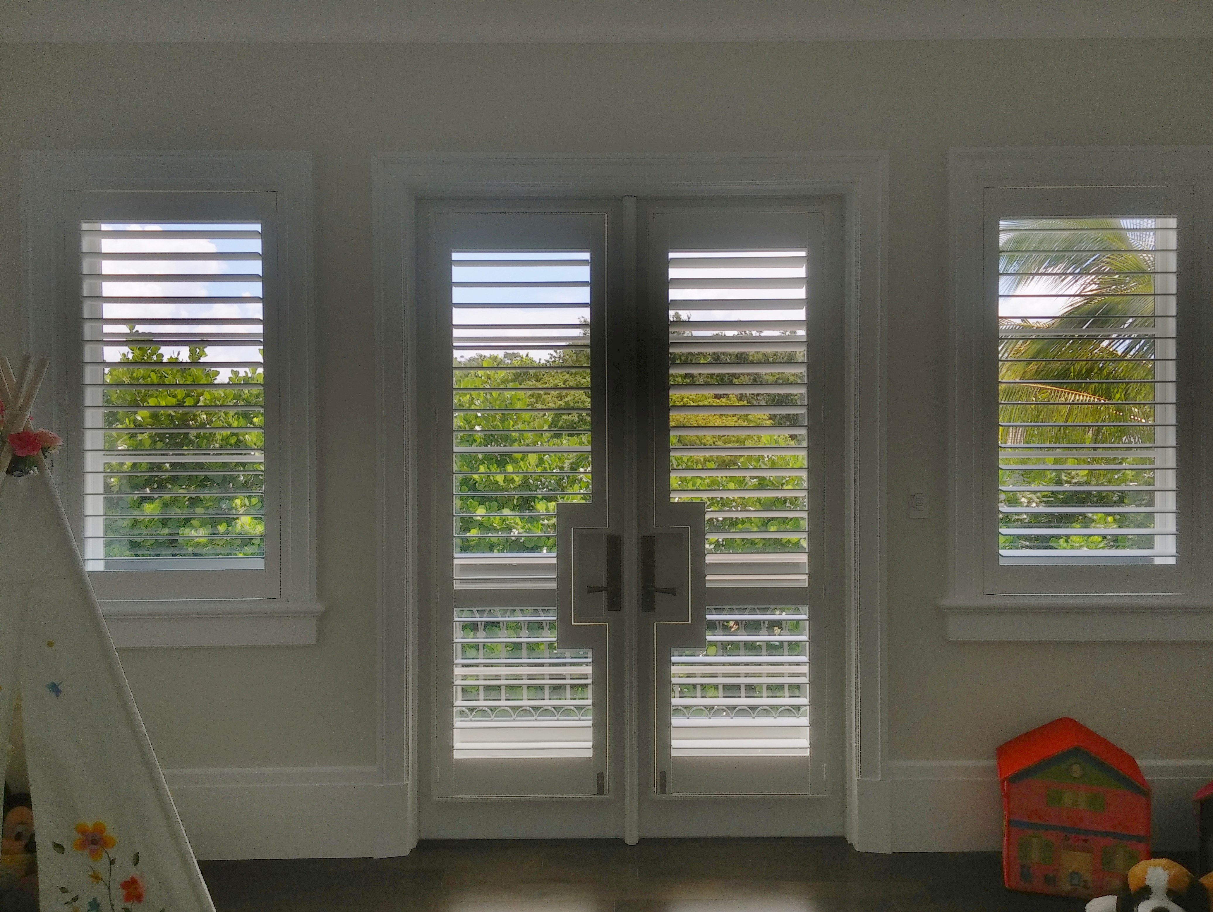 Ford Window Treatments | French Door Rectangular Cutout Wood Shutters